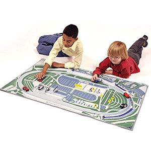 Kids will love playing with toy cars on the Atlanta Motor Speedway race mat
